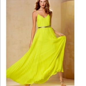 Victoria's Secret Lime Green Pleated Maxi Dress